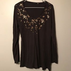 Tahari Brown & Metallic Cheetah Print Top LG